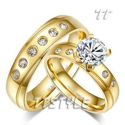 TT 14K Gold GP Multi CZ Stainless Steel Engagement Wedding Band Ring For Couple
