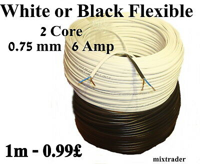 2 Core Flat 3 6 Amp PVC Flexible Cable Wire 0.5 0.75mm 1m 100m 2192Y Black White