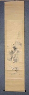 Rare Japanese Antique Vintage Handwriting Hanging Scroll Signed Sansui