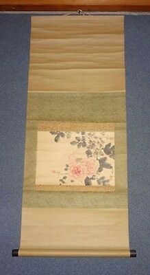 Rare Japanese Antique Vintage Handwriting Hanging Scroll Signed Rose
