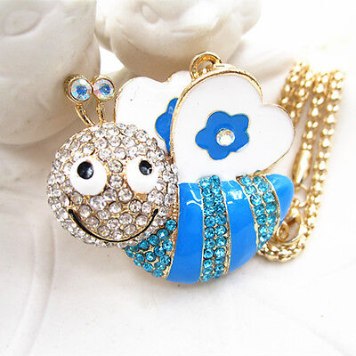 Rose Gold Plated Blue Crystal Opal Peacock Pendant Party Necklace