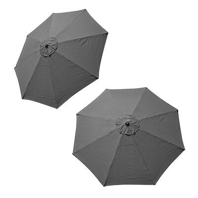 Patio Market Outdoor 9 FT 8 Ribs Umbrella Cover Canopy Grey Replacement Top