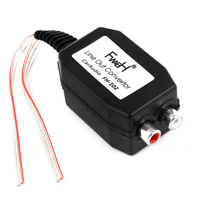 Black Shell Line Out Speaker Level to 2 RCA Input Car Audio Impedance Converter