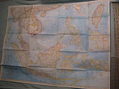 VINTAGE SOUTHEAST ASIA WALL MAP National Geographic December 1968 MINT