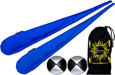 Flames N Games Sock Poi Set (BLUE) Pro Tube Poi Socks + 2 Balls &  BAG. Juggling