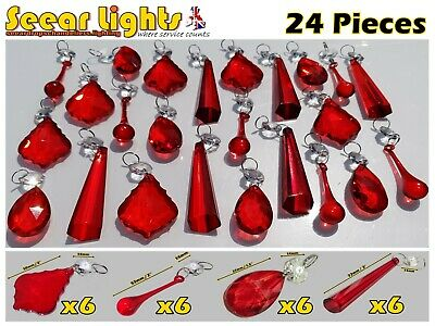 Antique Red Chandelier Crystals Glass Drops Prisms Beads Light Parts Droplets Bn