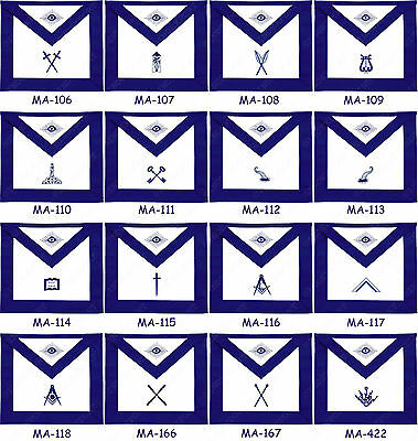Masonic Blue Lodge Officers Aprons Hand Embroidered - Set Of 11 Apron (Bloas-11)