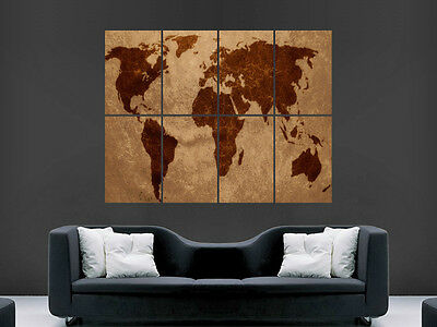 Map Of The World Art Large Wall Poster Print Image