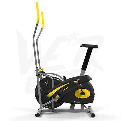 2-IN-1 Elliptical Cross Trainer Exercise Bike Cardio Workout Machine - Yellow