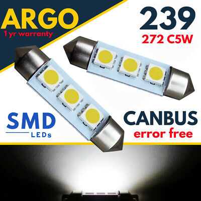 239 272 Xenon White Licence Registration Plate Bulbs Canbus Error Free Led Smd