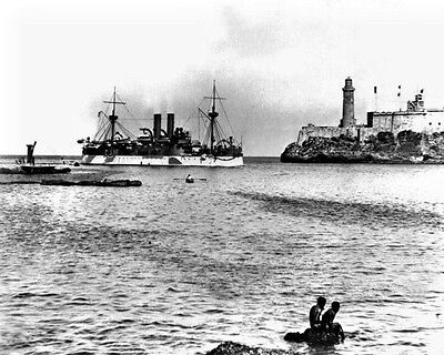 New 8x10 Spanish-American War Photo: USS MAINE Entering Havana Harbor, 1898