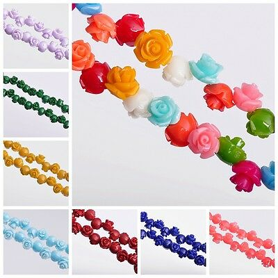 50pcs 8mm Synthetic Coral Carved Rose Flower Pendant Charms Finding Spacer Beads