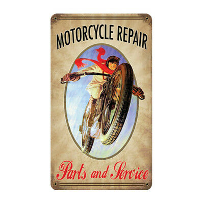 Motorcycle Repair Parts and Service Metal Sign 17x11 Vintage Garage Wall Decor