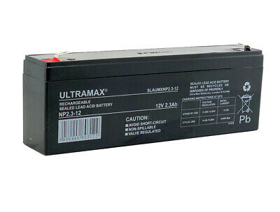 ULTRAMAX 12v 2.3ah (as 2.1ah & 2.2ah) Intruder Alarm Battery Rechargeable SEALED