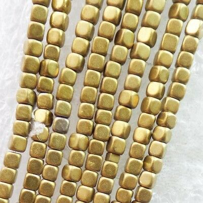 2strand Faceted Gold Hematite Gemstone Square loose bead 15.5 inch WH2798