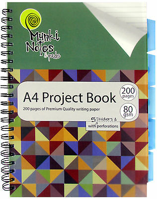 A4 Project Book, 200 Pages of Premium Quality Writing Paper,5 Dividers.(1016/D)