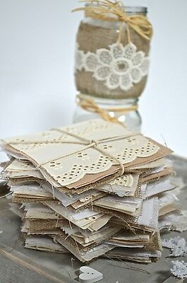 Wedding Hessian Fabric Square Vintage Material Card Invitation Craft FREE Lace