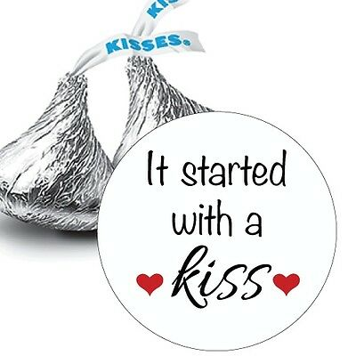 108 It Started with a Kiss -  Heart Hershey Kiss Labels Stickers Favors
