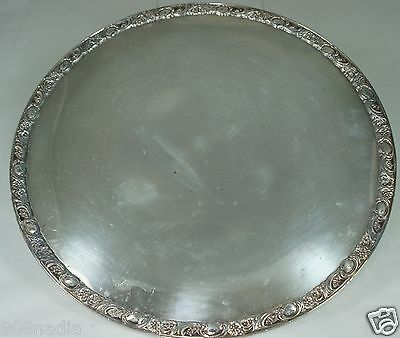 "ANTIQUE ROUND SILVER PLATE PLATTER,FOOTED,""VICTORIAN ROSE"",WM ROGERS"