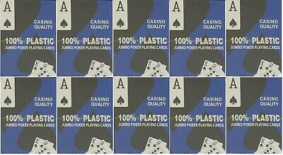 10 DECKS - 100% PLASTIC POKER PLAYING CARDS JUMBO INDEX - Blue or Red