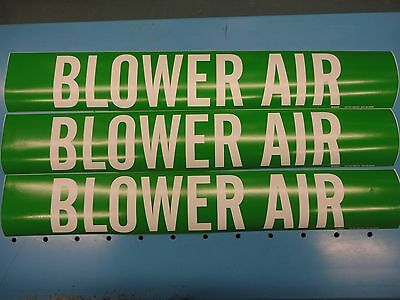 "3 Count, ""BLOWER AIR"", 4"" x 24"" Brady Decal Sticker, Vinyl Pipe Marker 7029-1HV"