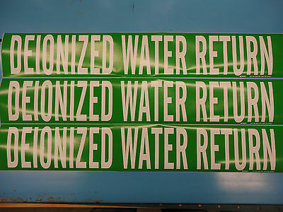 "3 Count, ""DEIONIZED WATER RETURN"", 4"" x 24"" Sticker, Vinyl Pipe Marker 7074-1HV"