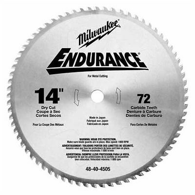 "New Milwaukee 48-40-4505 Endurance 14"" 72 Tooth Carbide Circular Saw Blade"