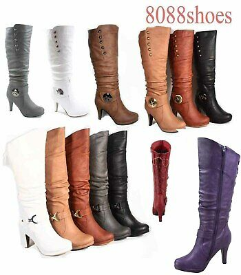 Women's  Round Toe High Heel Platform Mid-Calf  Knee High Boots Shoes Size 5 -11