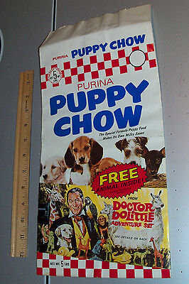 Vintage 1967 PURINA PUPPY CHOW 5 lbs PACKAGE unused Doctor Dolittle Adv Set
