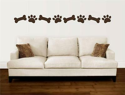 Paw Prints Dog Bones Border Vinyl Decal Wall Art Stickers Letters Words Decor  sc 1 st  PicClick & PAW PRINTS DOG Bones Border Vinyl Decal Wall Art Stickers Letters ...