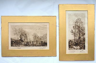 2 Landscape etchings by Georges Garen after Jean-Baptiste-Camille Corot. French.