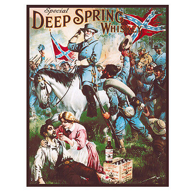 Deep Spring Whiskey Civil War Metal Sign Confederate Soldier Bar Decor 12.5x16