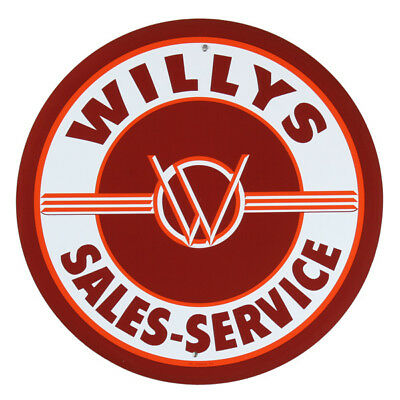 Willys Auto Sales Service Metal Sign Vintage Style Garage Wall Decor 12 in.