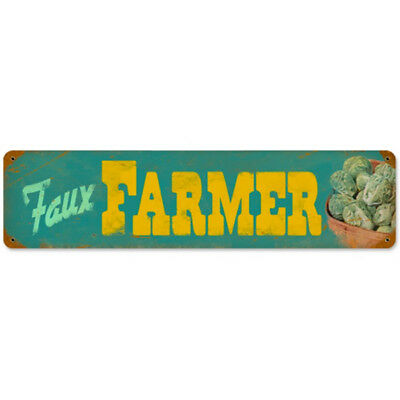 Faux Farmer Gardening Vegetables Vintage Farm Stand Weathered Metal Sign 20 x 5