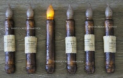 "Set of 6 - LED Burnt Mustard 6"" - 6.5"" Battery Operated TIMER Taper Candles"