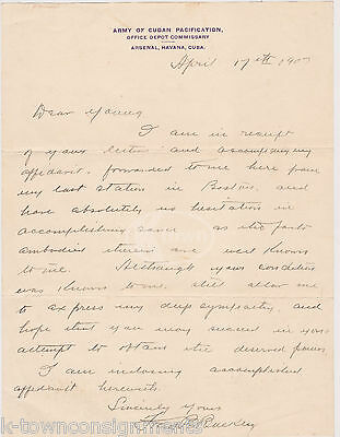 SPANISH AMERICAN WAR ARMY OF CUBAN PACIFICATION AUTOGRAPH SIGNED MILITARY LETTER