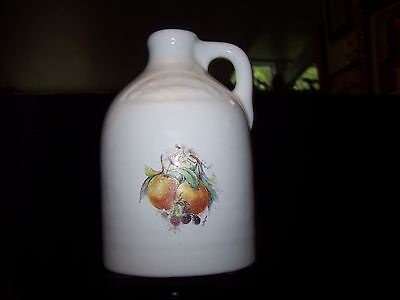 White Stoneware Pottery Crock Jug Hand Painted Fruit  Milk Vintage Collectible