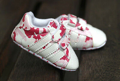 Baby Girl Pink Camo Sport Pram Shoes Soft Sole Trainers Newborn to 18 Months