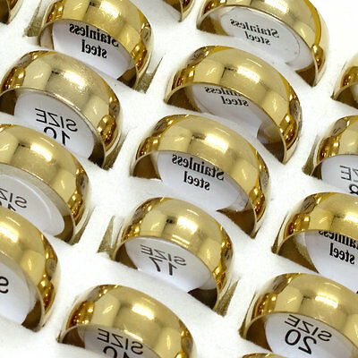 Wholesale jewelry lots 100pcs Gold Plated Arc Smooth Stainless Steel rings BW79