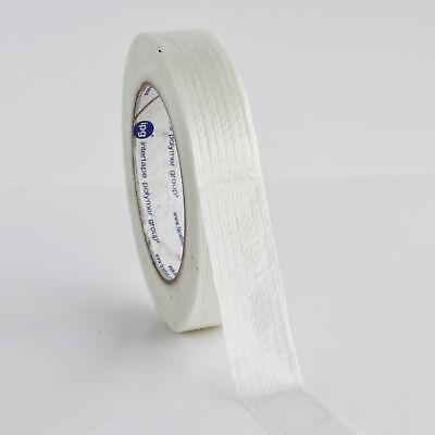 "1"" x 60 YARDS WHITE FILAMENT STRAPPING TAPE ECONOMY GRADE 36 ROLLS/CASE"