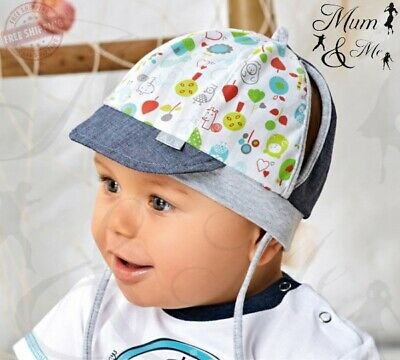 Baby Boys Tie Up Hat Infant Spring Beanie Summer Cotton Cap Newborn