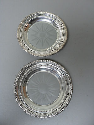 VINTAGE PAIR GLASS COASTERS, CUT STARBURST w/ FRANK WHITING STERLING SILVER RIM