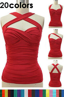 50s Style RUCHED Cross Your Heart Classic PINUP Halter Top 17 Colors! Sizes S-2X