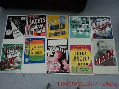 1940s Territory Band Music Poster Lot of 10 Vintage Original Mid-Century NOS