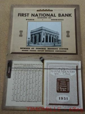 1951 First National Bank of Wahoo Nebraska Advertising Wall Calendar Vintage