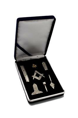 Blue Lodge Masonic Working Tools Miniature Antique Silver with Lapel Pin