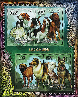 Central African Stamp, 2012 CAR INT1203A Dog Pet Mammal,Chihuahua,Pointer,Beagle