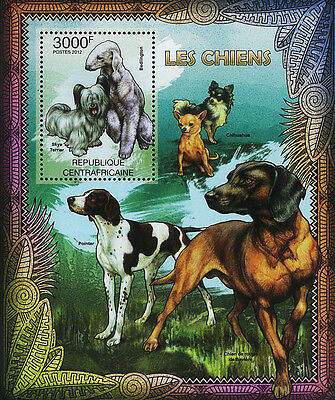 Central African Stamp, 2012 CAR INT1203B Dog Pet Mammal,Chihuahua,Pointer,Beagle