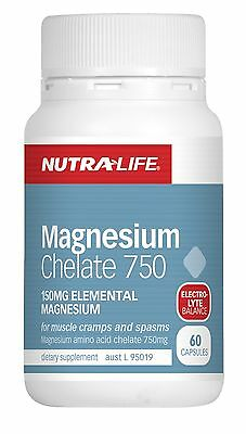 Nutra Life - Magnesium Chelate 750 60C - Muscle Cramps & Spasms + Free Sample