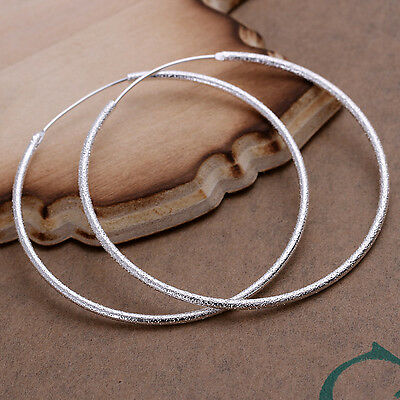 wholesale sterling solid silver fashion frosted circle hoop Earrings XLSE044